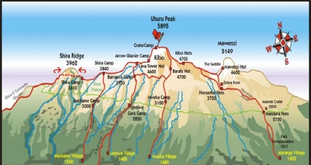 Carte Kilimandjaro pour accéder au sommet