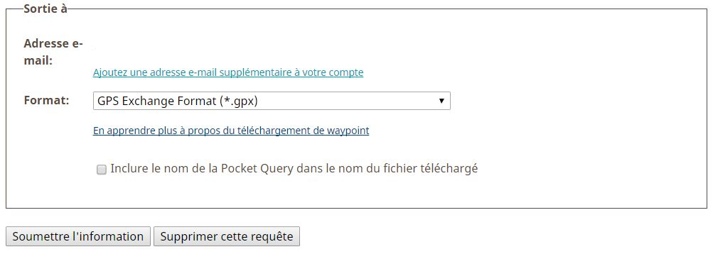 Exportation de la pocket queries