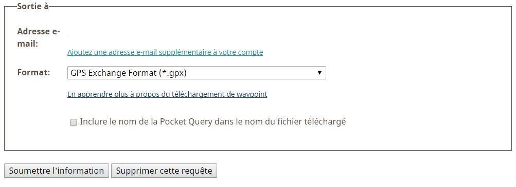 Exportation de la pocket queries